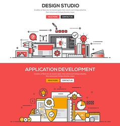 Flat design line concept Design studio and Apps vector image