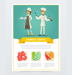 Flat poster with family chefs of vegetarian vector
