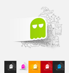 Ghost paper sticker with hand drawn elements vector