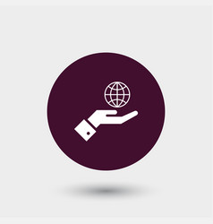 Globe on hand icon simple vector