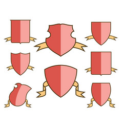 Heraldic escutcheons for coat of arms with ribbons vector
