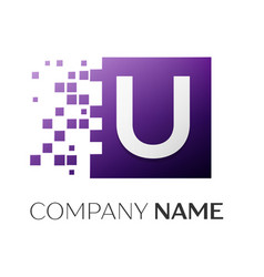 letter u logo symbol in the colorful square with vector image vector image