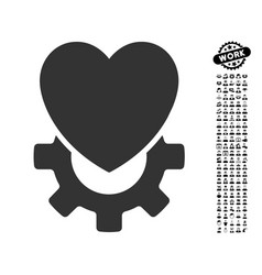 Mechanical heart icon with work bonus vector
