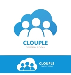 people and cloud logo concept vector image vector image
