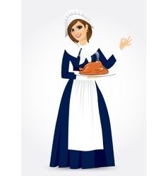 pilgrim woman vector image