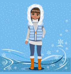 Pretty girl on a winter background vector