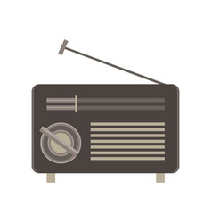 radio flat icon isolated retro vintage style vector image