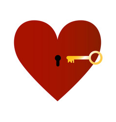 Red heart with golden key vector