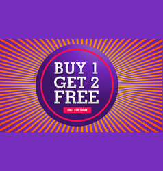 Sale banner of buy one get two free offer vector