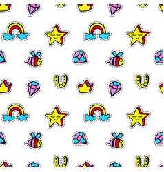 seamless pattern with kids patch badges vector image vector image