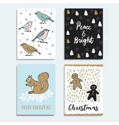 Set of Christmas New Year greeting cards vector image