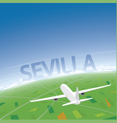 Seville flight destination vector