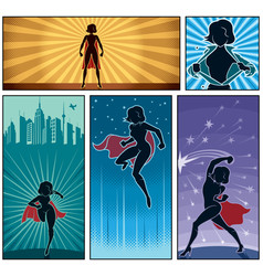 super heroine banners 2 vector image vector image