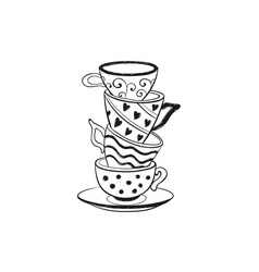 Tea cups icon vector