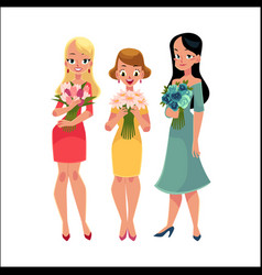 Three beautiful women girls friends standing vector