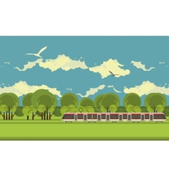 Train in the countryside vector