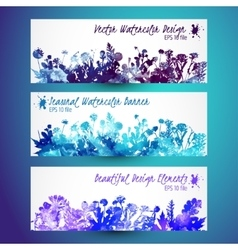 Watercolor winter leaves - template christmas vector