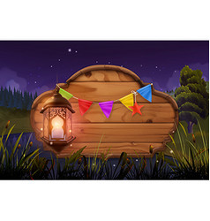 Wooden sign and lamp Night party Nature landscape vector image