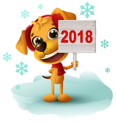 Yellow dog symbol of year 2018 holds sign vector