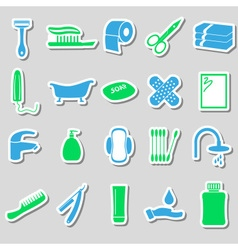 Hygiene theme modern simple color stickers icons vector