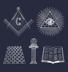 Masonic symbols set sacred society icons vector