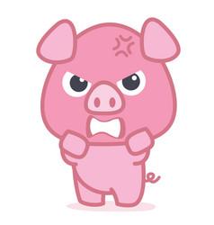 angry pig cartoon character vector image