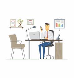 Office man - modern flat vector