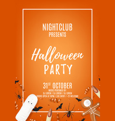 Orange halloween party flyer with sweets vector