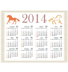 Calendar 2014 on a brick wall vector