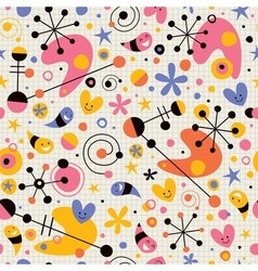 Funky cartoon retro note book paper pattern vector