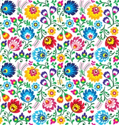 Seamless polish folk art floral pattern vector