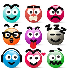 Crazy circle avatar faces vector