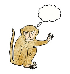 Cartoon evil monkey with thought bubble vector
