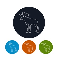 Icon of a moose bull with antlers vector