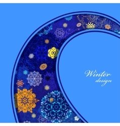 Winter curl design with pink and blue snowflakes vector