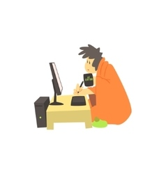Guy working home at night vector