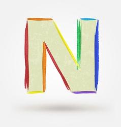 Alphabet letter n watercolor paint design element vector