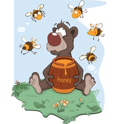 Bear and a wooden keg with honey vector