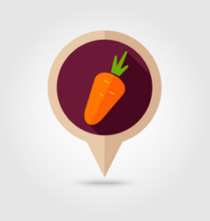 Carrot flat pin map icon vegetable vector