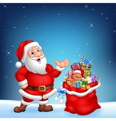 Cartoon funny Santa with sack on a night sky vector image