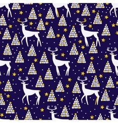 Christmas and New Year seamless pattern with deer vector image vector image