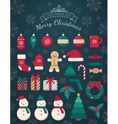 Christmas decorations and toys collection vector image vector image