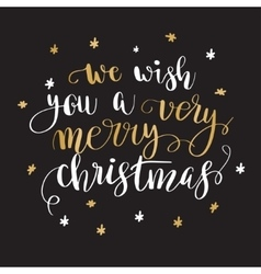 Christmas greeting card with calligraphy vector image