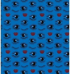 Eyes and lips silhouette seamless pattern vector image vector image