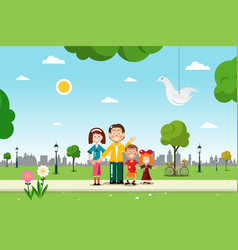 Family in city park vetor flat design vector