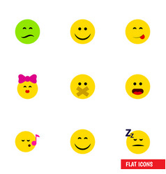 Flat icon gesture set of wonder asleep hush and vector