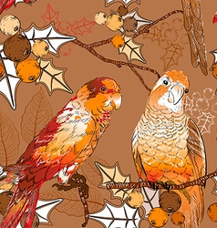 Floral Background with Parrots vector image