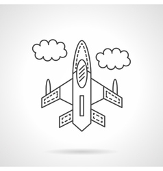 Flying jet flat line design icon vector