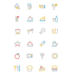 Food colored outline icons 1 vector