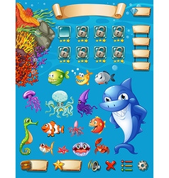 Game template with sea animals background vector